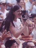 Young Woman Filming the Events During Kosygin's Second Visit to Glassboro, New Jersey Premium Photographic Print by Art Rickerby