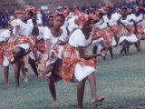 Girls Performing Folk Dances, Youth Rally at Nat'l Stadium, Celebrating Jamaican Independence Day Premium Photographic Print by Art Rickerby