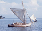 Haitian Fishermen on their Boats Premium Photographic Print by Lynn Pelham