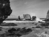 Waves Crashing on Prominent Rock Formations That Dot Coastline of the Caribbian Sea, West Indies Photographic Print by Eliot Elisofon