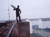 Chimney Sweep at Work on a Rooftop in East Germany Premium Photographic Print by Ralph Crane