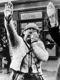 Czechoslovakian Woman Sobbs, Saluting German Troops after the Annexation by Germany of Sudetenland Photographic Print