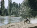 Russian Look of the Land Essay: Boy on Two-Wheeled Donkey Cart Along Fergana Canal Premium Photographic Print by Howard Sochurek