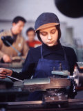 Woman Working at a Lathe in East German Factory Premium Photographic Print by Ralph Crane