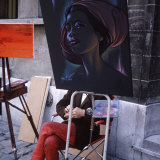 The Parisians: Artists on Place du Terte Near Sacre Coeur Montmartre Photographic Print by Alfred Eisenstaedt