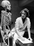 Biology Student Studies Skeleton Premium Photographic Print by Alfred Eisenstaedt