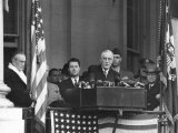 VP Harry S. Truman Sitting in Background as President Franklin D. Roosevelt Makes Inaugural Address Premium Photographic Print by George Skadding