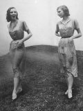 Models Wearing Identical Dresses, Dress on Right Treated with Chemicals for Wrinkle-Resistance Premium Photographic Print by Al Fenn