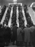 Bus Terminal at Rush Hour, Passengers Getting from Level to Level on Moving Staircases Premium Photographic Print by Al Fenn