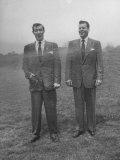 Men in Suits are Sprayed with Hose, Wool Blended with New Material Dacron vs Tropical Worsted Suit Reproduction photographique sur papier de qualité par Al Fenn