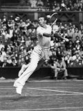 Don Budge in Full Length Action Portrait During Singles Match at Wimbledon Tennis Tournament Premium Photographic Print