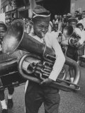 Young Boy Playing the Tuba During the Parade Premium Photographic Print by Hank Walker