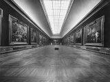 Long Gallery of Paintings at Louvre Museum with Skylight Ceilings Premium Photographic Print by Nat Farbman