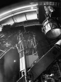 Night Assistant Climbing Down Side of 100-Inch Telescope at Mount Wilson Observatory Premium Photographic Print by Margaret Bourke-White