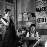 Jean Cocteau Sketching Model Elizabeth Gibbons in a Chanel Dress in His Hotel Bedroom Premium Photographic Print by Roger Schall