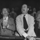 Perry E. Moore and Leslie J. Healey Shouting on Floor of Stock Exchange Photographic Print by Herbert Gehr