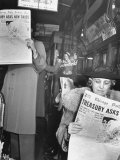 People Reading Tribune Newspaper on Train Premium Photographic Print by William C. Shrout