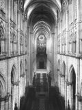 Amiens Cathedral Showing High Vaulted Arches, Rose Window in Distance, Sublime Gothic Expression Photographie par Nat Farbman