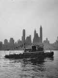 Excursion Party Tugboat with City Skyline in the Background Photographic Print by Lisa Larsen