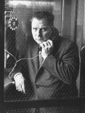 President of Teamsters Union Jimmy Hoffa Making Phone Call from Glassed-In Phone Booth Premium Photographic Print by Hank Walker