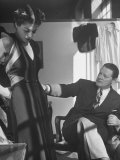 Emmet Joyce of Saks Examining His Design of This Dress of French Silk, WWII Premium Photographic Print by Alfred Eisenstaedt