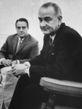 Peace Corp. Head Sargent R. Shriver Jr. and President Lyndon B. Johnson Photographic Print by John Dominis