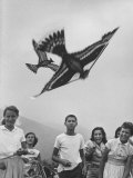 Children Playing with Various Flying Toys Premium Photographic Print by Ralph Crane