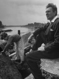 British Actor Michael Redgrave Sitting on Bank of the Thames River with His Children Premium Photographic Print by Ian Smith