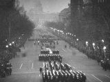 Inaugural Parade for President Dwight D. Eisenhower with Street Lights Burning Premium Photographic Print by Al Fenn