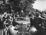 Prime Minister Winston Churchill Waving to the Crowd During an Election Tour Premium Photographic Print by Ian Smith