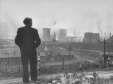 British Politician and Labor Party Leader Aneurin Bevan Surveying the Largest Steel Works in Europe Premium Photographic Print by Ian Smith