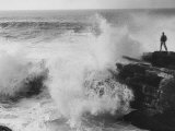 Oceanographer Willard Bascom Standing on a Rock while Observing the Crashing Surf Premium Photographic Print by Bill Ray