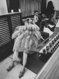 Singer Barbra Streisand in Silver Fox Fur Coat, Listening Intently to Playback of Her Recordings Premium Photographic Print by Bill Eppridge