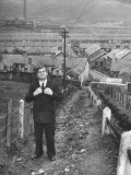 British Politician Aneurin Bevan Posing in Front of in His Home Town During His Campaign Premium Photographic Print by Ian Smith