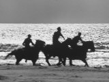 American Visitors Enoying Horseback Riding on Rosarita Beach Premium Photographic Print by Allan Grant