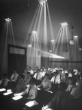 Students with Individual Spotlights over Writing Areas During Darkened Lecture, New York University Premium Photographic Print by Herbert Gehr