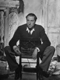 "Director Carol Reed Sitting on the Set of His Movie ""Odd Man Out"" Premium Photographic Print by Ian Smith"