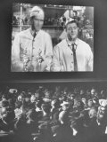 """Audience at Omaha Theater Watching Abbott and Costello in Feature Picture """"Who Done It"""" Metal Print by Alfred Eisenstaedt"""