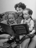Actress Wendy Hiller Reading a Story to Her Children Premium Photographic Print by Ian Smith