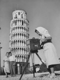 New England Couple Being Photographed by an Italian Woman in Front of the Leaning Tower of Pisa Premium Photographic Print by Jerry Cooke