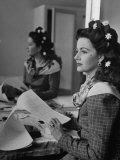 "Actress Margaret Lockwood in Her Dressing Room on the Set of ""Hungry Hill"" Premium Photographic Print by Ian Smith"
