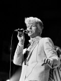 Musician David Bowie Singing on Stage Premium Photographic Print