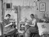 Czech Couple Assembling Articles Prob. Costume Jewelry, at Home Premium Photographic Print by Margaret Bourke-White
