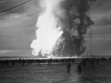 Hindenburg Zeppelin Bursting into Flames While Attempting to Land after 37th Ocean Crossing Premium Photographic Print by Arthur Cofod