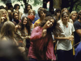 Psylvia, Dressed in Pink Indian Shirt Dancing in Crowd, Woodstock Music and Art Festival Fotografie-Druck von Bill Eppridge
