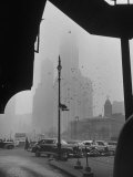 Surrounding the City in Fog, with City Hall and Woolworth Building in Background Premium Photographic Print by Walter Sanders