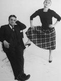 Italian Dir. Federico Fellini and Actress Wife Giulietta Masina Posing in Studio Premium Photographic Print by Gjon Mili