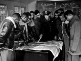 Members of the Famed Tuskegee Airmen Looking at a Flight Map During a Training Class Photographic Print