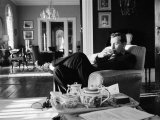 Author Gore Vidal at Home Premium Photographic Print by Leonard Mccombe