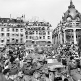 Allied Forces and French Civilians Celebrating the Liberation of Paris, Hotel De La Ville Photographic Print by Frank Scherschel